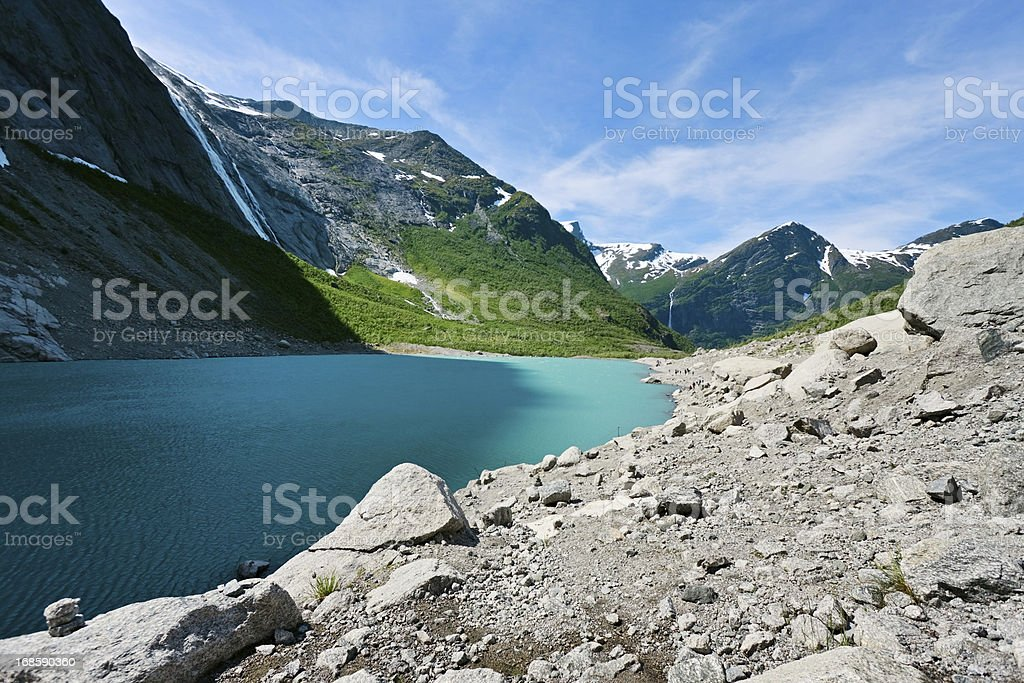 Briksdal glacier lake, Norway stock photo
