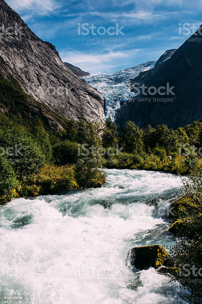 Briksdal Glacier, Norway 2016 stock photo