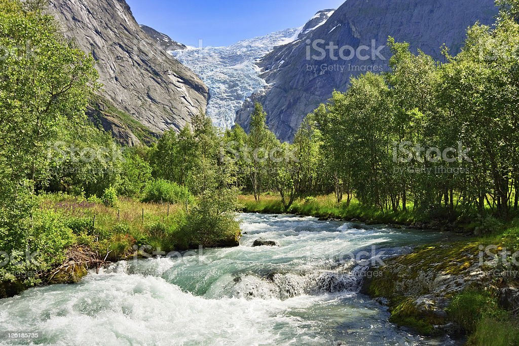 Briksdal glacier, Norway stock photo