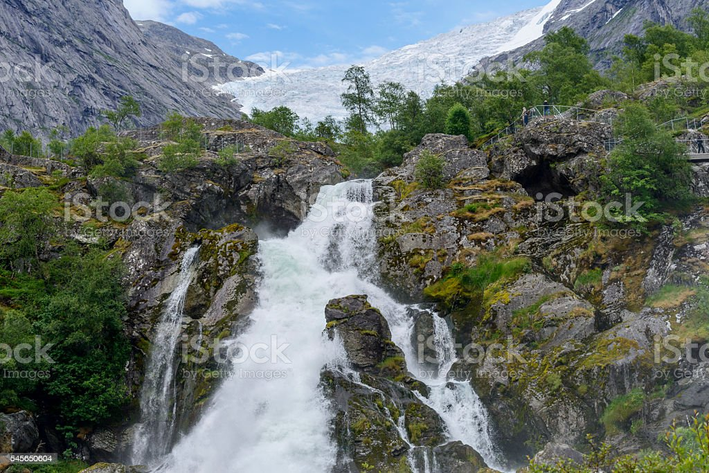 Briksdalsbreen glacier stock photo
