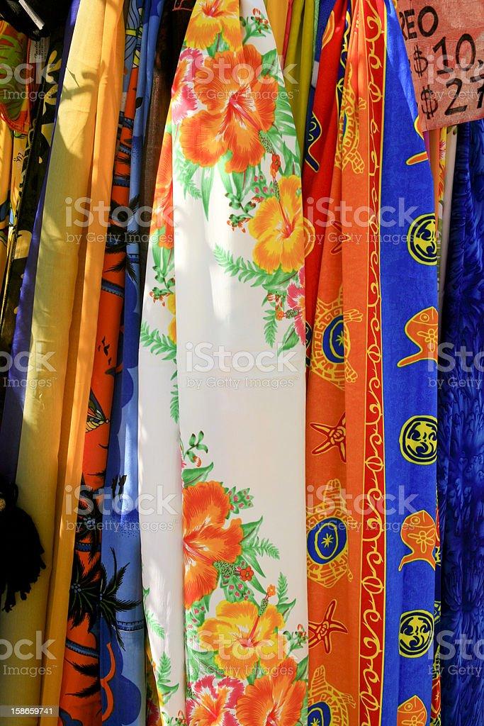 Briliant Colored Scaves, Oranjestad, Aruba stock photo