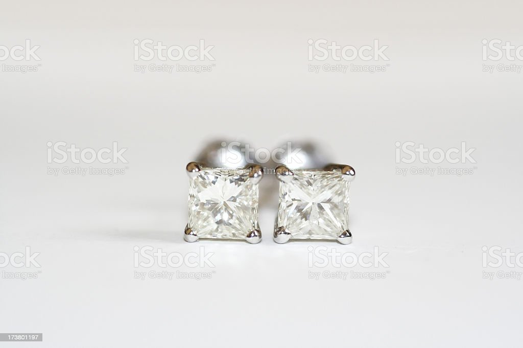 Brilliant Cut Diamond Earrings stock photo