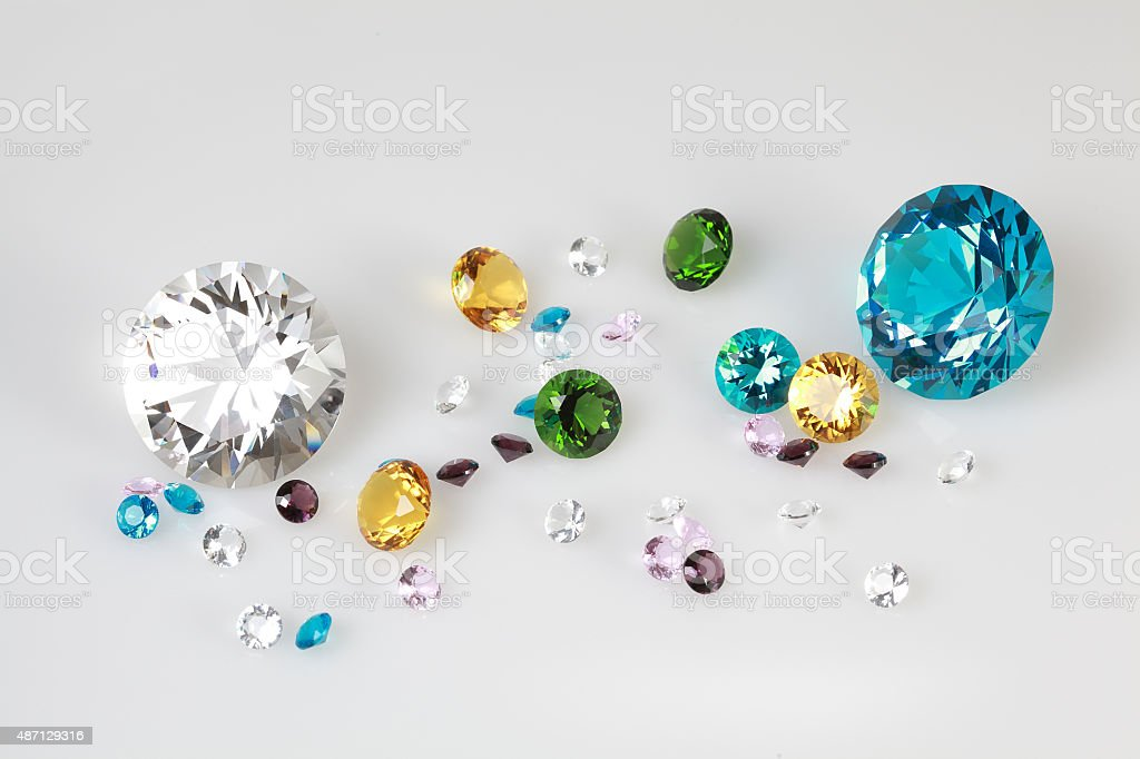 Brilliant diamond on white background stock photo