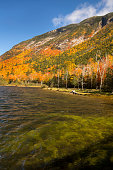 Brilliant fall foliage at Saco Lake in the White Mountains.