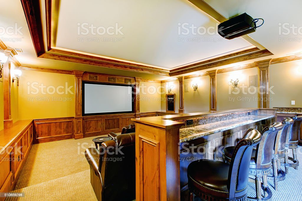 Brilliant home theater with bar. stock photo
