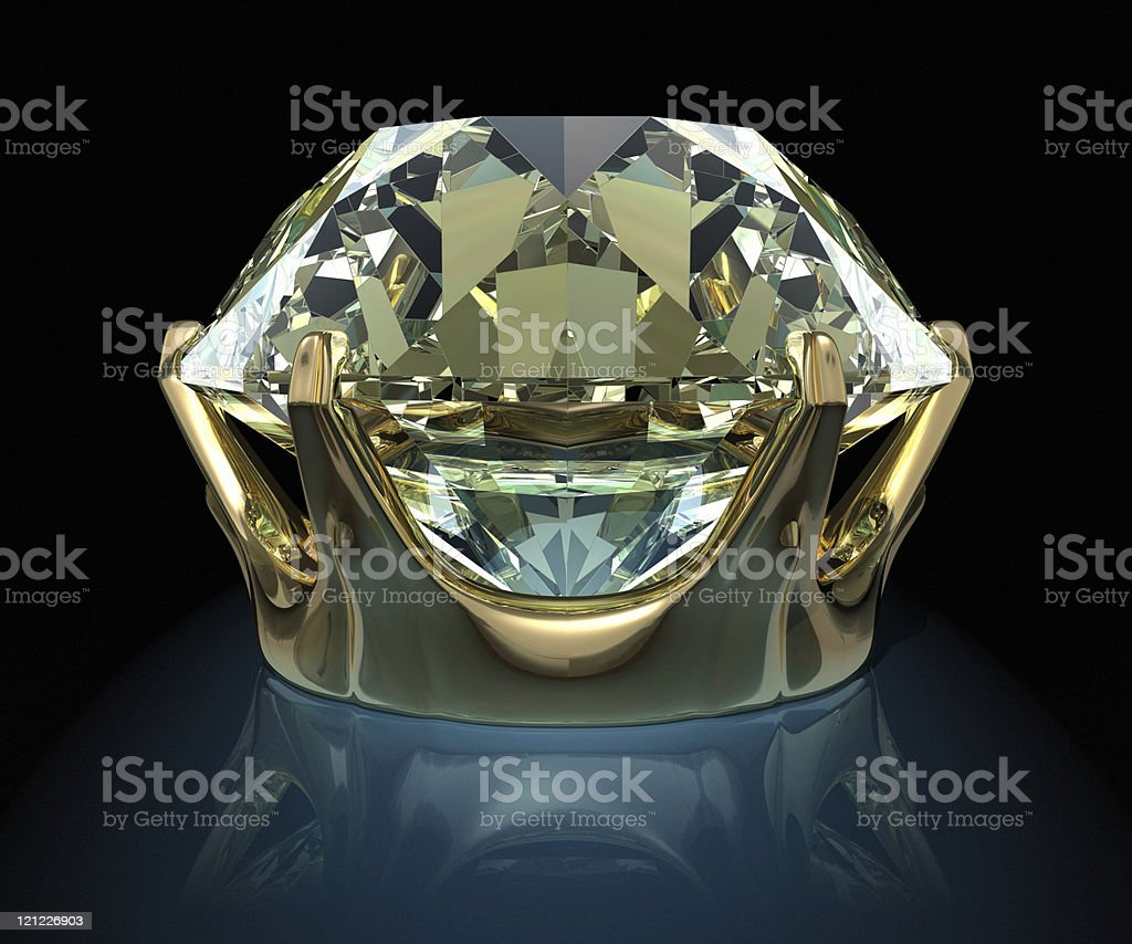 Brilliant in a gold frame royalty-free stock photo