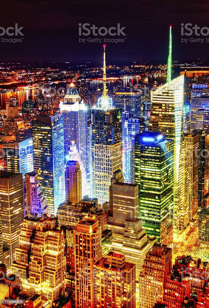 Brilliant Manhattan at Night royalty-free stock photo