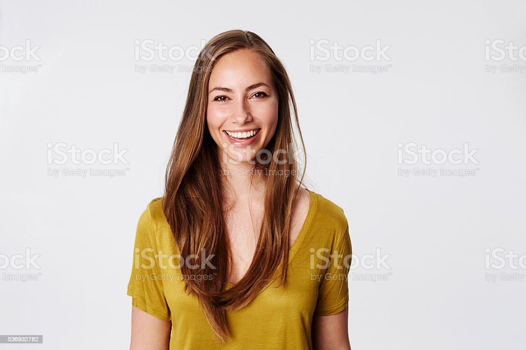 Brilliant smile on beautiful brunette, portrait stock photo