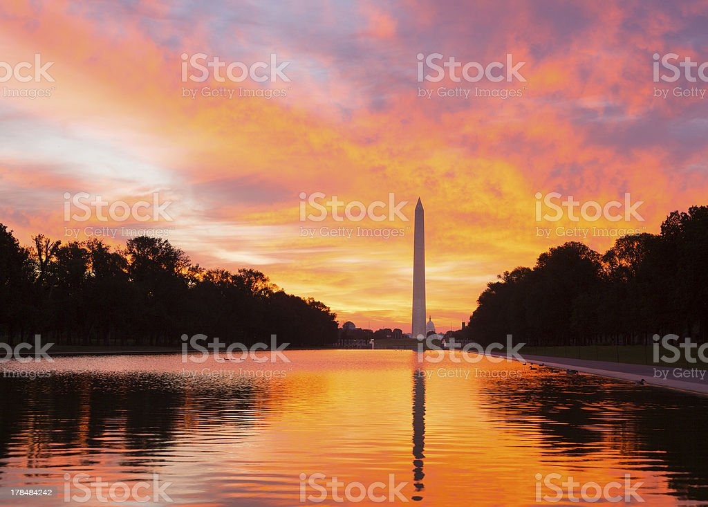Brilliant sunrise over reflecting pool DC stock photo