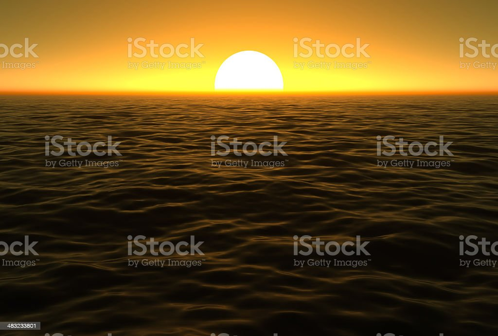 Brilliant sunset over the ocean royalty-free stock photo
