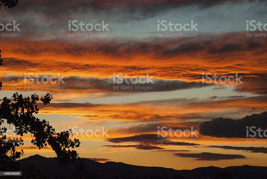 Brilliant Sunset over the Rocky Mountains near Loveland Colorado royalty-free stock photo