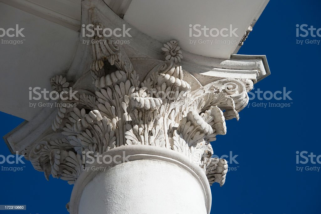 Brilliant White Corinthian Column Detail royalty-free stock photo