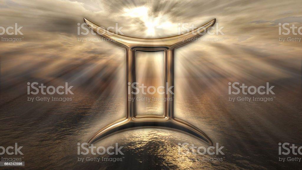 Brilliant zodiac horoscope Gemini symbol. 3D rendering stock photo