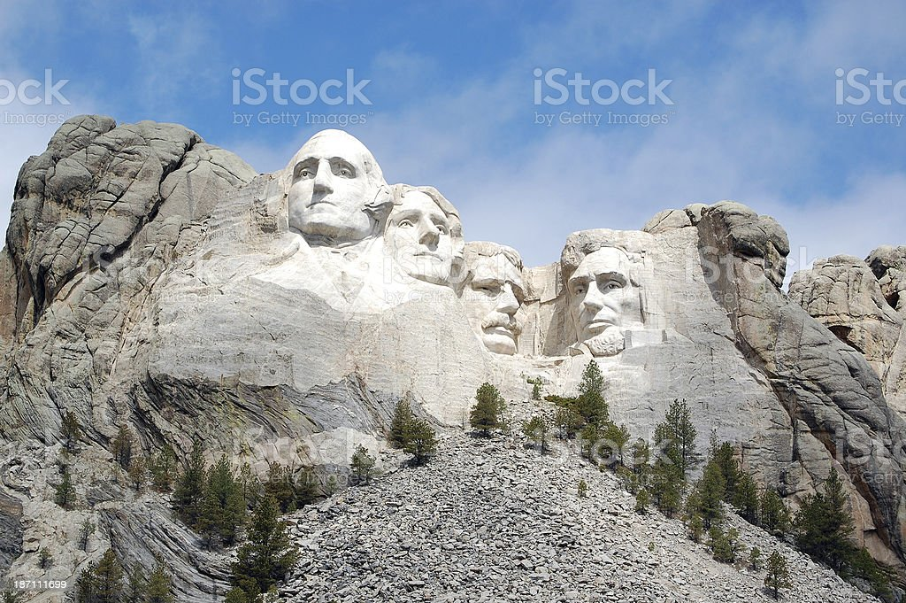 Brilliantly Sunlit View of Mount Rushmore National Monument stock photo