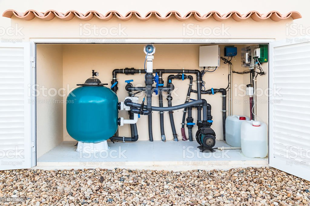 Brine, Salt water, Swimming Pool Filter and pumps stock photo