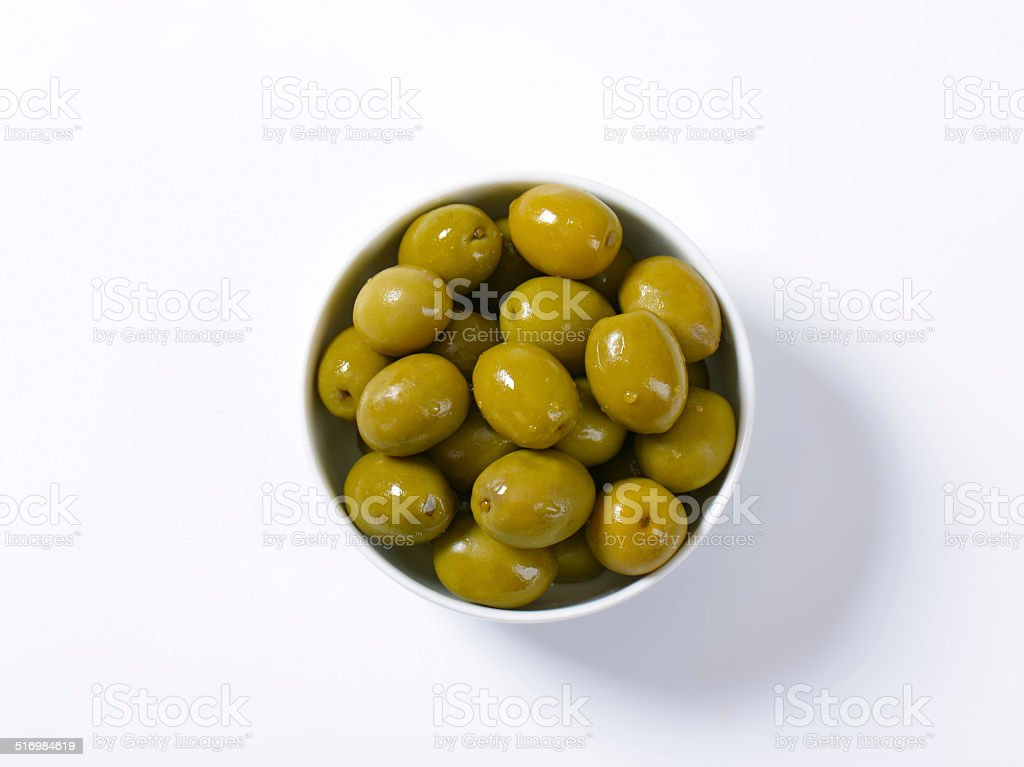 Brine-cured green olives stock photo