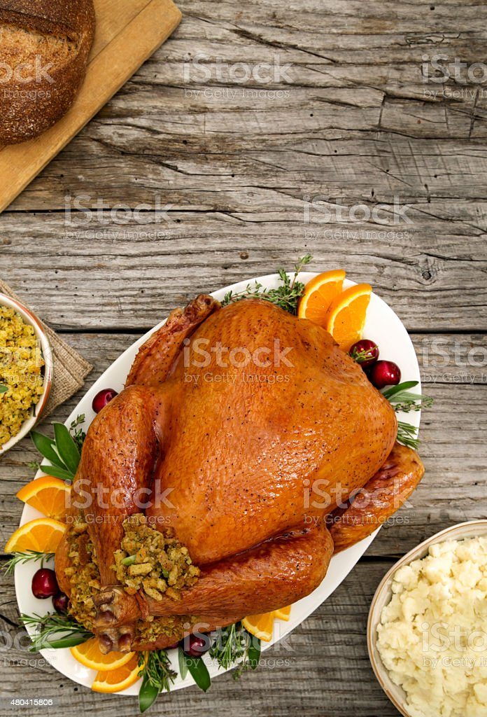 Brined Thanksgiving Turkey stock photo