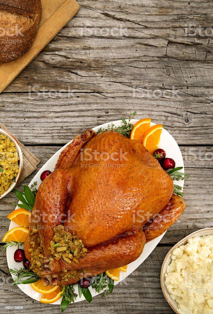 Brined Thanksgiving Turkey stock photo