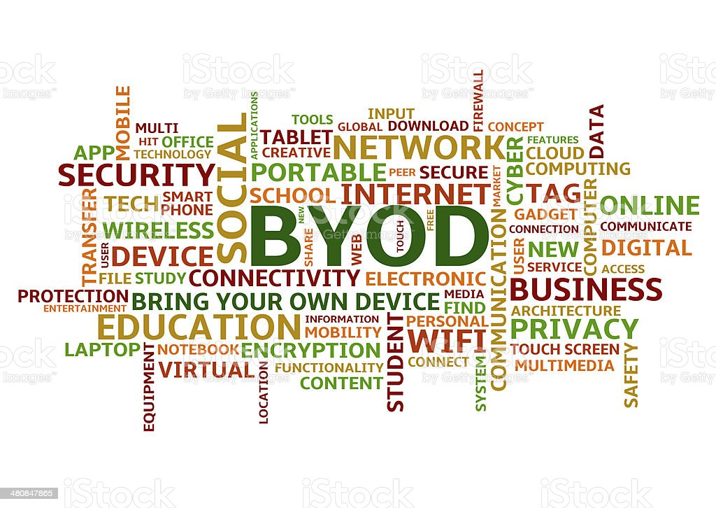 BYOD Bring Your Own Device, Colourful Word Cloud in Uppercase stock photo