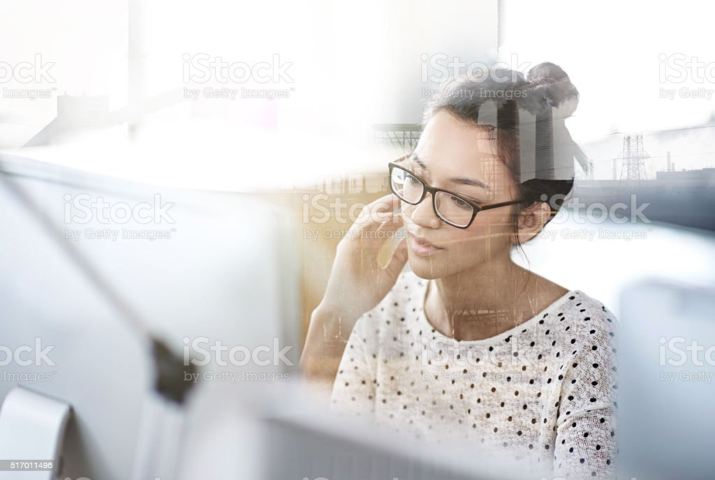 Bringing her designs to life with technology stock photo