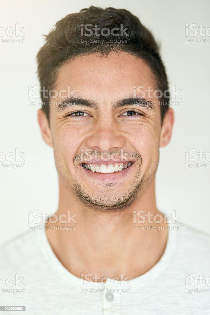 Bringing his A grade smile stock photo