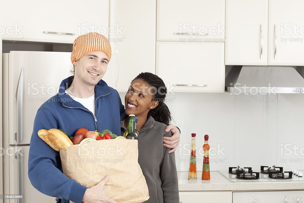 Bringing home grocery food items. royalty-free stock photo