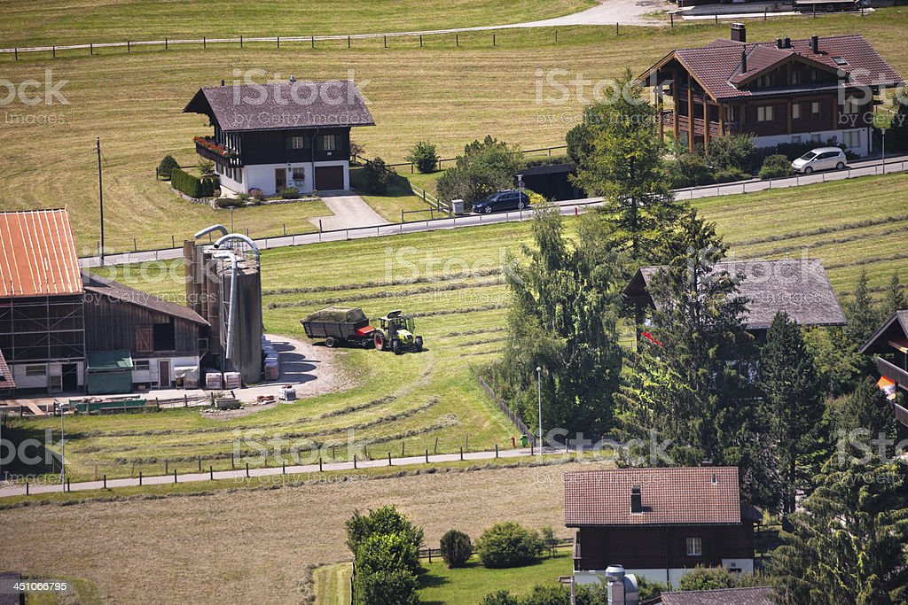Bringing in the new mown hay, summer, Switzerland royalty-free stock photo