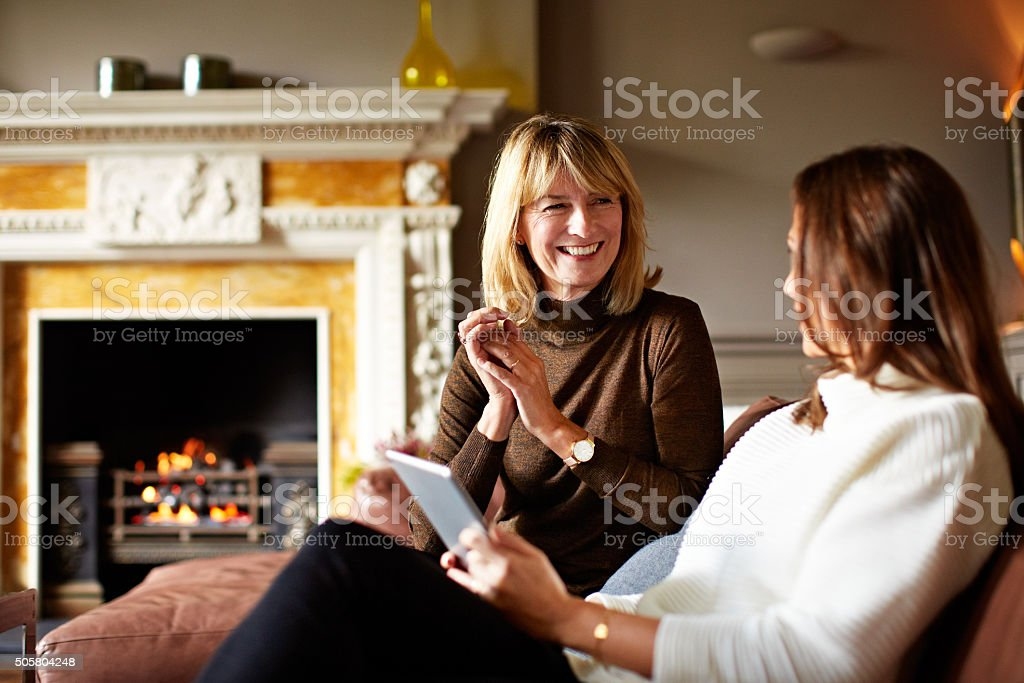 Bringing mom into the twenty first century stock photo