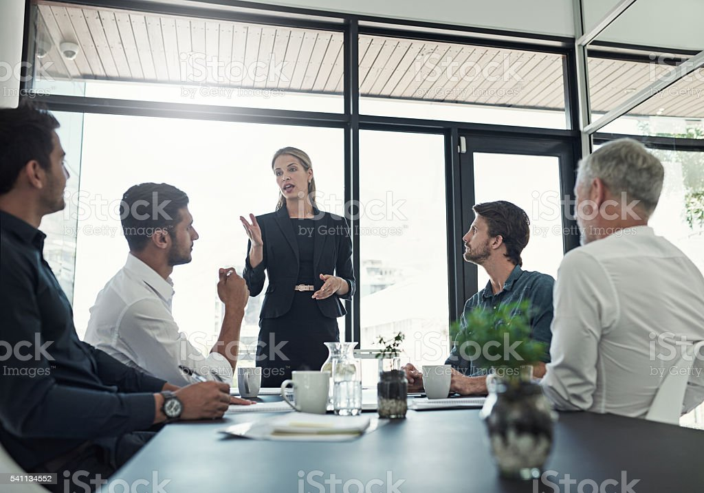 Bringing up some important talking points stock photo