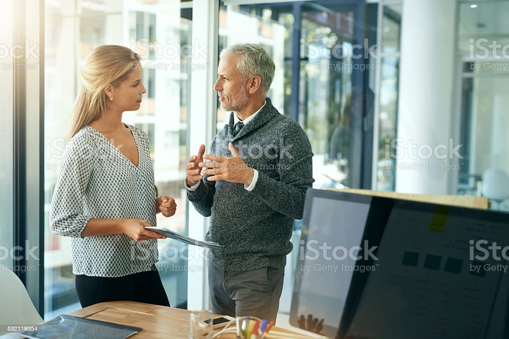 Bringing up some interesting points stock photo
