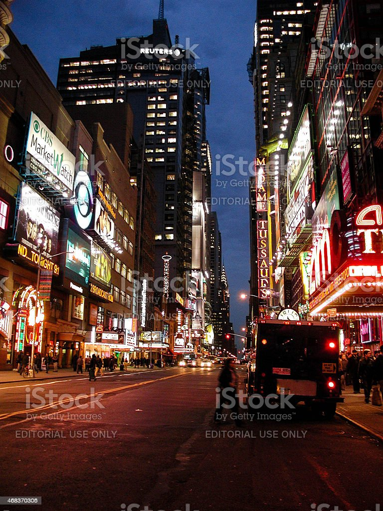 Brinks Armored Truck outside AMC Theater in Times Square stock photo