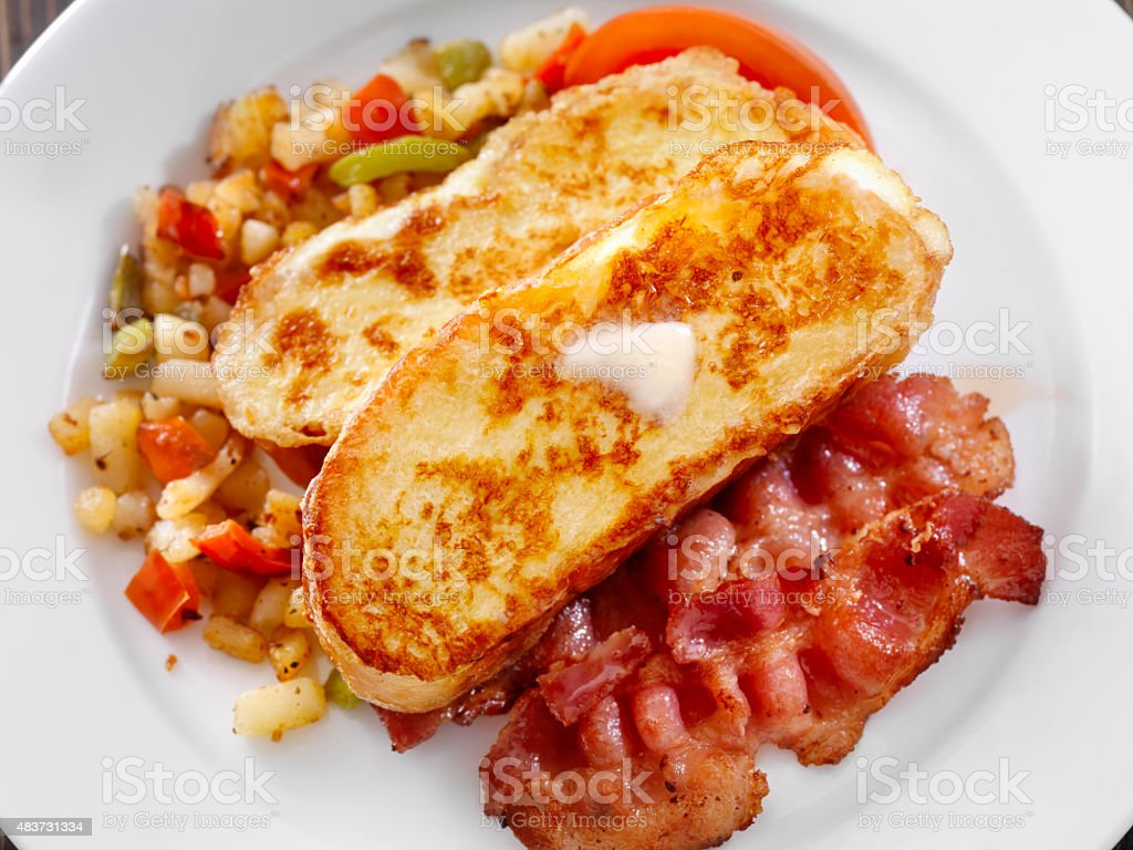 Brioche French Toast with Maple Syrup stock photo