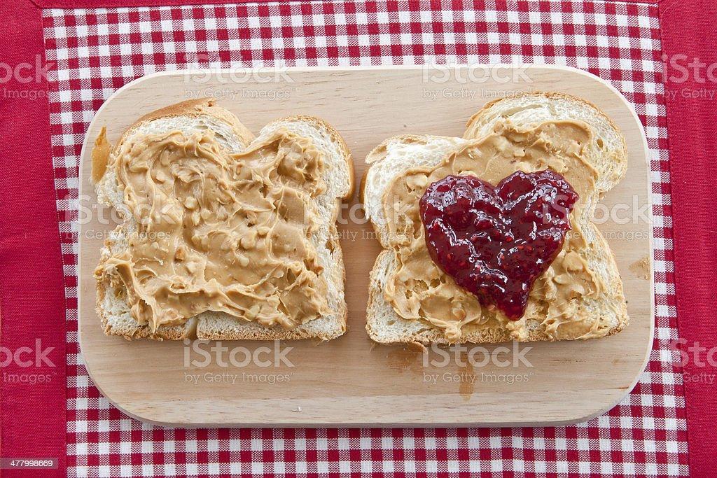 Brioche with peanutbutter stock photo