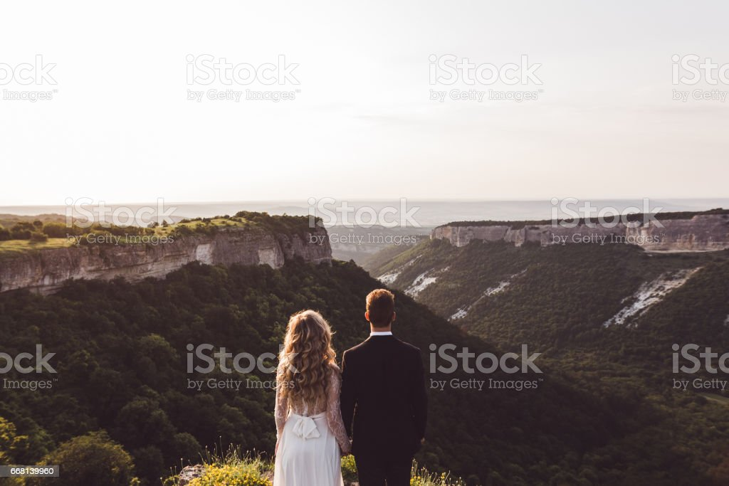 Brire and groom looking at fantastic mountan canyon. Photo from the back stock photo