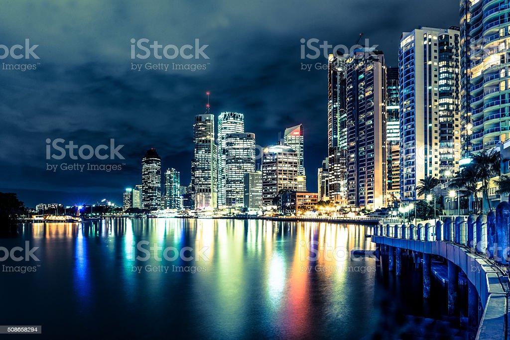 Brisbane at night, Australia stock photo