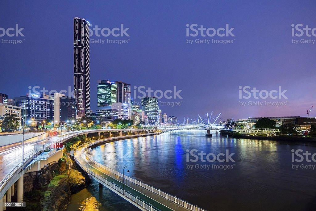 Brisbane by Night, Australia stock photo