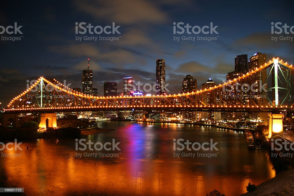 Brisbane Central Business District and Story Bridge at Night stock photo