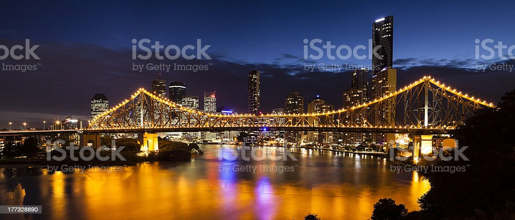 Brisbane city by night stock photo