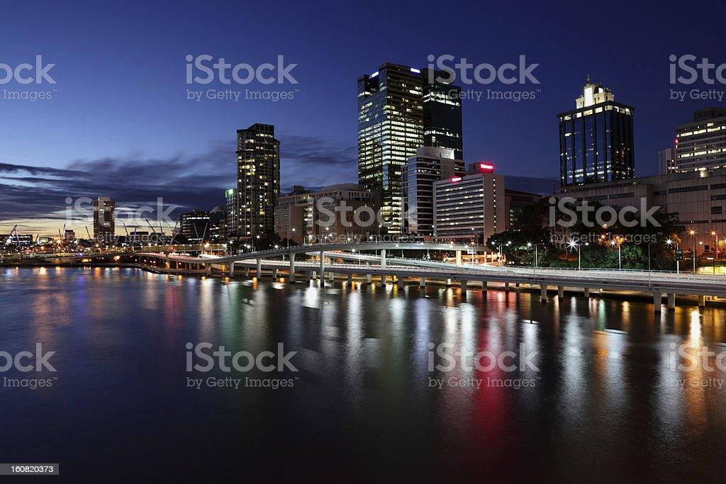Brisbane City skyline at dusk stock photo