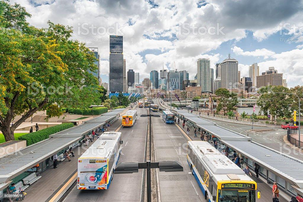 Brisbane cityscape Victoria Bridge stock photo