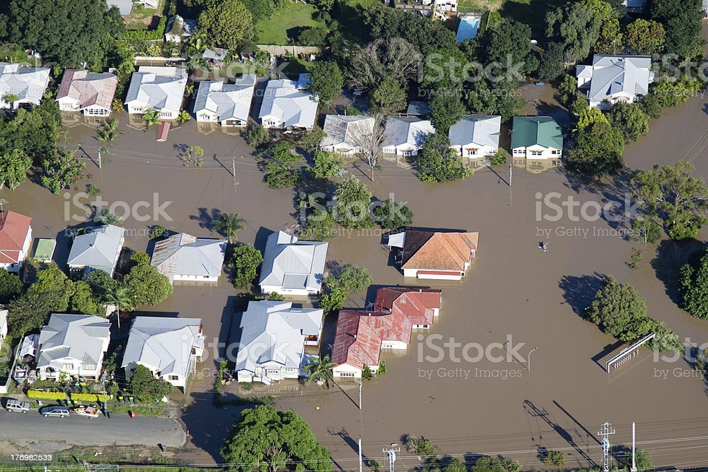 Brisbane Flood 2011 Aerial View Homes Under royalty-free stock photo