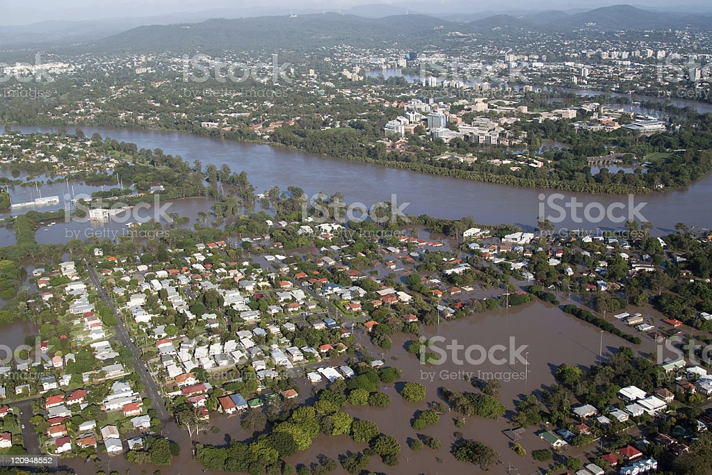 Brisbane Flood 2011 Aerial View royalty-free stock photo