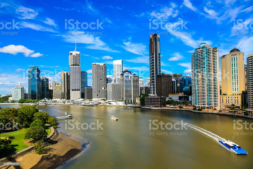 Brisbane River and City stock photo