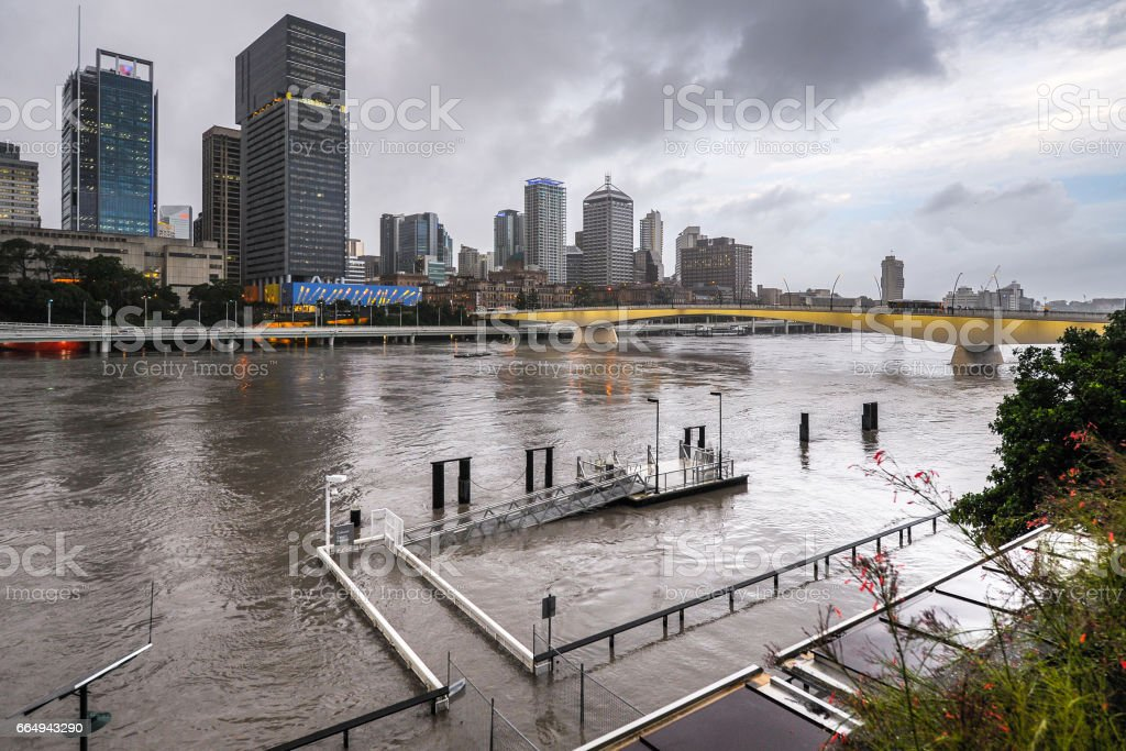 Brisbane River during big flood event stock photo
