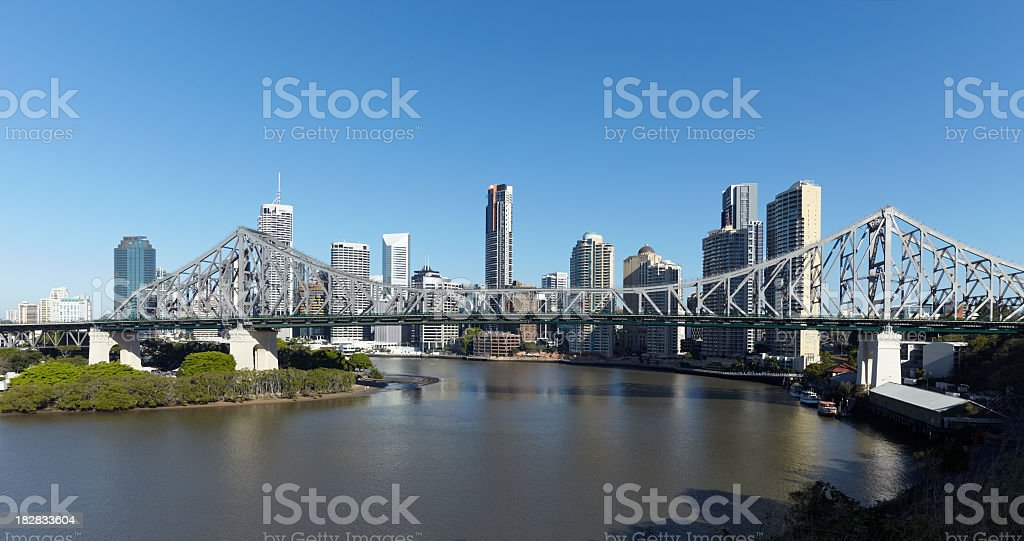 Brisbane skyline and Story Bridge on a clear sunny day stock photo