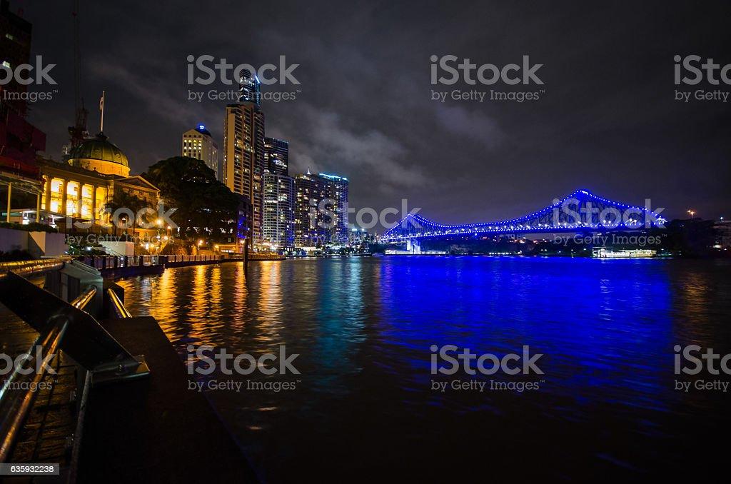Brisbane Skyline at night stock photo