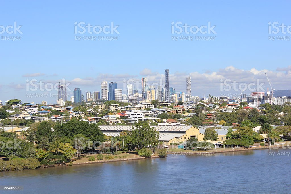 Brisbane Skyline from the River stock photo