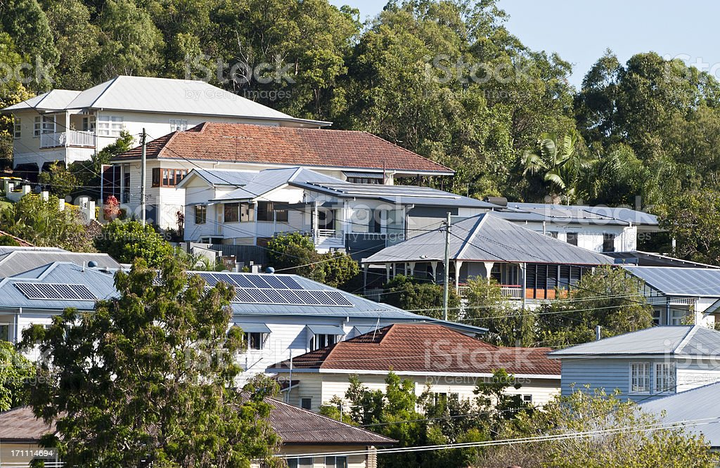 Brisbane suburban roof tops royalty-free stock photo