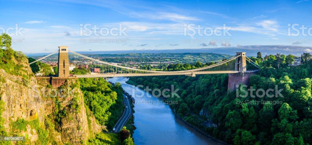 Bristol suspension bridge at sunset stock photo