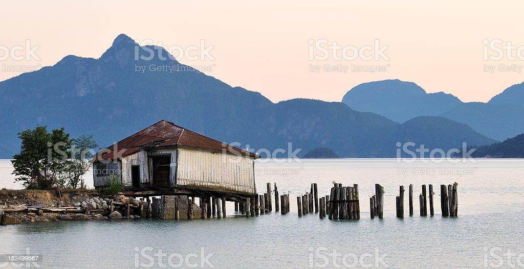 Britannia beach sunset,  Squamish, British Columbia stock photo